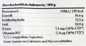 Vegetarsich - Vegafit Nährwerte