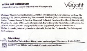 Vegafit Hamburger - Zutaten