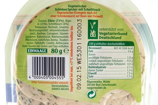 Rügenwalder vegetarisch - Zutaten u Naehrwerte