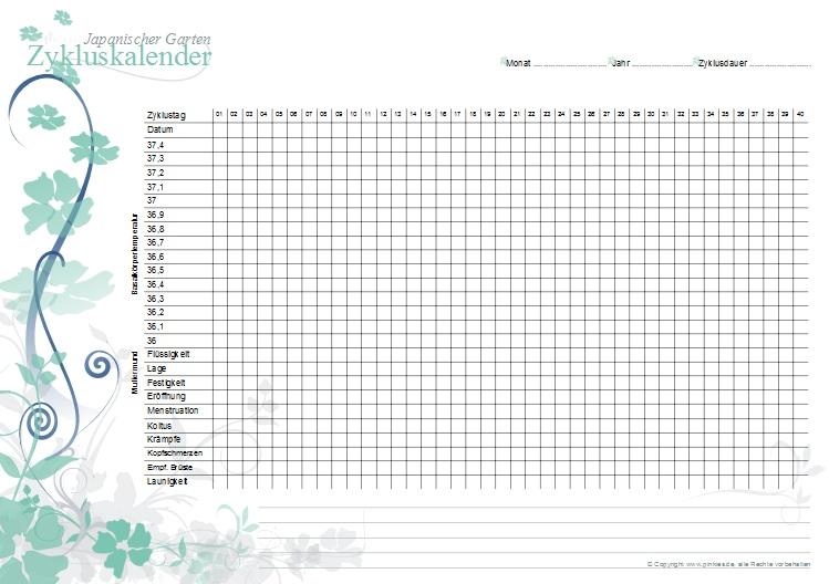 Zykluskalender japanischer Garten: Lucite-Blau