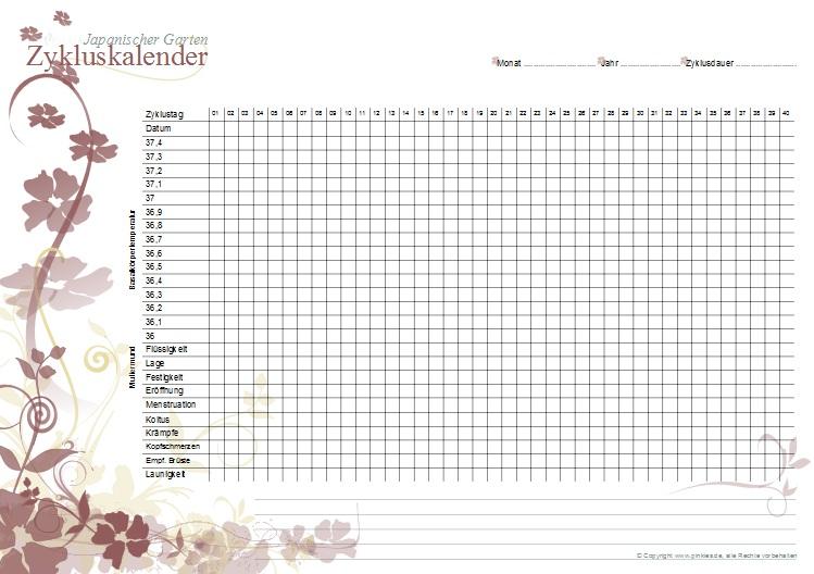 Zykluskalender japanischer Garten: Marsala-Splash