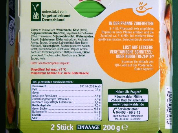 Vegetarsiche Schitzel Närhrwerte