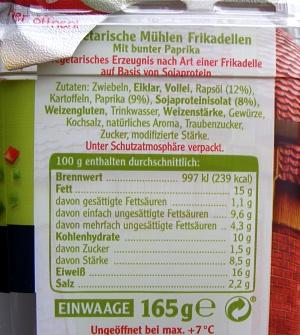 Rügenwalder vegetarische Frikadellen - Zutaten