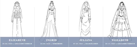 Royale Brautkleider aus 100 Jahren