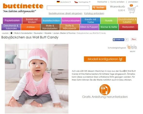 Babymütze und Babyjacke selber stricken mit  Woll Butt Candy Wolle von buttinette