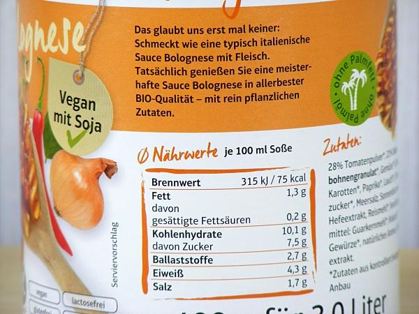 Gefro BIO Sauce Bolognese : Nährwerte