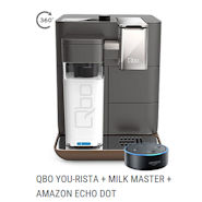 Qbo You-Rista Kaffeemaschine inklusive Gratis Amazon Echo Dot und Milk Master
