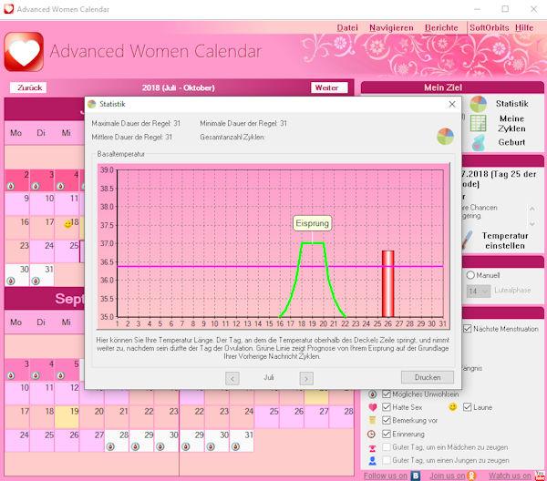 Advanced Woman Calendar: Schwangerschaft planen oder vermeiden