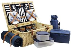 HappyPicknic Weiden-Picknickkorb mit unfangreicher Ausstattung und Picknick-Decke