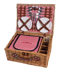 eGenuss LY12041 - handgefertigter Picknickkorb für bis zu 4 Personen mit und ohne Kühlfach